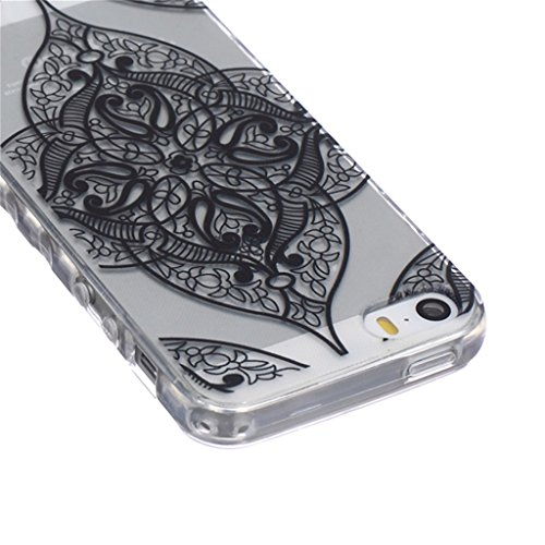 iphone 5 Coque, MYTH Doux Flexible - Beau Papillon Slim Silicone Ultra Mince TPU Bumper Protection Housse Pour iphone 5 / iphone 5s Mode Noir Motif