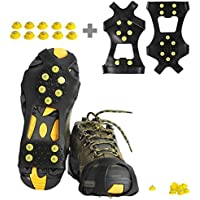 willceal Ice Cleats, Ice Grippers Traction Cleats Shoes and Boots Rubber Snow Shoe Spikes Crampons with 10 Steel Studs Cleats Prevent Outdoor Activities from Wrestling (Extra 10 Studs)