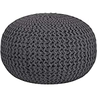 RAJRANG BRINGING RAJASTHAN TO YOU Charcoal Grey Pouf Ottoman - Knitted Pouffe Braided Cotton Cord Stitched Round Footstool Patio Seating - 50x33 cm