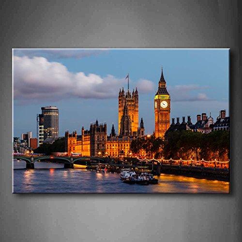 Big Ben und Westminster Bridge in der Abend London United Kingdom Boot,...