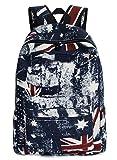 Greeniris Mädchen Flagge Segeltuch Rucksack Damen Vintage Schulrucksack für Damen