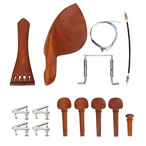 Kit di accessori per violino 4/4 in legno di giuggiolo, mentoniera, picchetti, cordiera, accordatori, puntale (kit tipo A e corde)