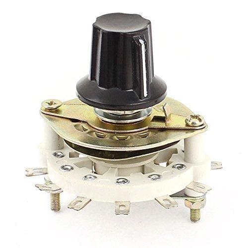 sourcingmap® Plastica Nera Tappo Interruttore Rotativo Banda Canale Selettore 1 Polo 6 Gettare