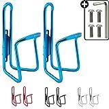 HiLo sports 2er Set Fahrrad Flaschenhalter | 4 Schrauben + Werkzeug | 4 Farben (blau)