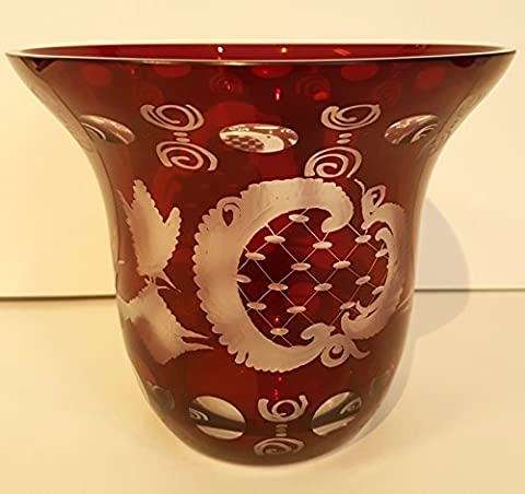 Antique Glass Bowl Egermann Glass Hand Cut Bohemian Glass Ruby Red Mouth Blown Crystal Glass Height Approx 13 cm, diameter opening ca. 15 cm Oberstdorfer