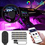 Picture Of Car LED Strip Lights by APP Control, Govee 48 LED Car Interior Lights Music Sound-activated Multi-color Under Dash Lighting Kit, Car Charger Included