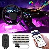 Auto LED Innenbeleuchtung, Minger RGB Auto Innenraumbeleuchtung mit APP, wasserdicht mehrfarbig Musik Auto Streifen Kit mit Zigarettenanzünder & Mikrofon für iPhone Android Smartphone