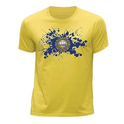 STUFF4 Jungen/Alter 12-14 (152-164cm)/Gelb/Rundhals T-Shirt/New Hampshire Flagge Splat