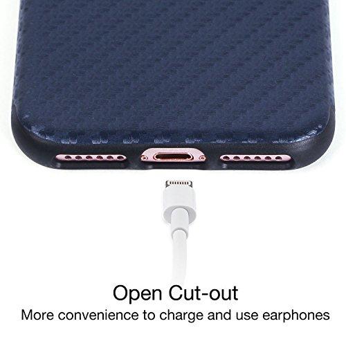 iPhone 7 Hülle,Imikoko® Rundumschutz Streifen Köper Muster Dünn Carbon Silikon Case Schutz Soft TPU Schutzhülle Cover Anti Staub Kratzer Handyhülle für iPhone Apple 7?Weiß? Blau