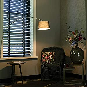QAZQA Modern Bogenleuchte/Bogenlampe/Lampe/Leuchte Arc Stahl/Silber/nickel matt mit schwarzem Stoffschirm/Innenbeleuchtung/Wohnzimmerlampe Metall/Textil Rund LED geeignet E27 Max. 1 x 2