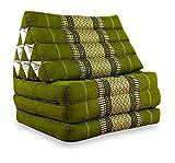 livasia Thaikissen mit 3 Auflagen der Marke, Kapok Dreieckskissen, asiatisches Sitzkissen, Liegematte, Thaimatte (grün)