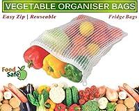 KV CREATION| Vegetable Bags| Reusable Vegetable Organizer Bags/Fridge Bags/Net Bags (Pack of 3 Bags) (Natural Color)| Multi Purpose Food Bags