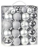 50 Christbaumkugeln 4cm und 6cm PVC Box ( silber ) // Weihnachtskugeln Baumkugeln Baumschmuck Weihnachtsdeko Kugeln