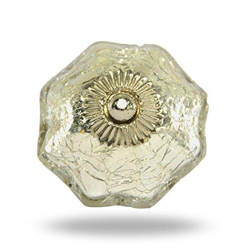 Silber Crackle Spiegel Glas Knopf mit Antik Messing Finish By trinca-ferro - Crackle Glas Antik