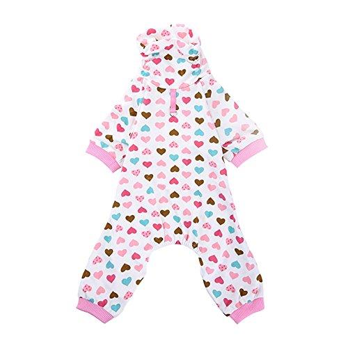 PanDaDa Rosa Hohes Kragen Herz Muster Hund Pyjamas Hund Shirt Gemütliches Hund Kleidung Haustierhemd (Einfach P Party Kostüme)
