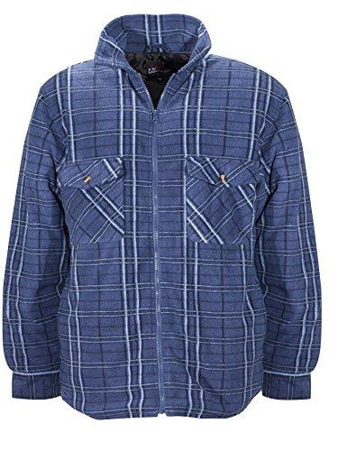 W.k. tex. uomo di pile thermo camicia, uomo, fleece-thermohemd, blu a scacchi, 47/48