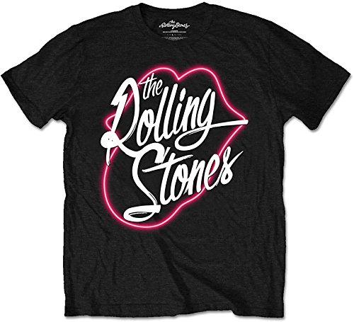 The Rolling Stone Neon Lips Script - Camiseta manga corta para hombre, color negro, talla S