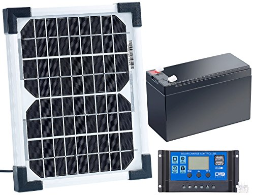 revolt Solarzelle mit Akku: Solarpanel (5 W) mit Ladewandler und Blei-Akku (Mini Solarzellen mit Akku)