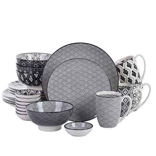 vancasso, série Haruka, Service de Table, 24 pièces, pour 4 Personnes, en Porcelaine, Style Japonais
