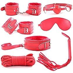 Cuero superior de la PU 7 piezas conjunto de sujeción látigo, esposas, venda, mordazas, collar, correa, gargantilla (rojo)
