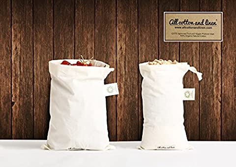 Set of 7 Organic Cotton Produce Bags - Fruits bag, vegetable bag, Toy Bags, Lunch Bags for Men, Women & Children, Sports Equipment, Fabric Laundry, Travel, Organizing, Home Storage, and Grocery Shopping & Storage of Fruit Vegetable & Garden Produce - Eco Friendly - Reusable Produce Bags,100% Organic cotton. Multi-Purpose Use. Washable, Heavy Duty, Eco Friendly, Foldable - (7 Bags of Small - 8x10) by All Cotton and Linen