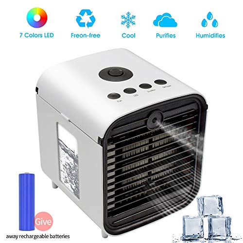 Mobile Klimageräte, 4 in 1 Air Cooler Mini Luftkühler, Luftbefeuchter & Luftreiniger Ventilator mit Batterie und 7 Farben LED-Licht für Office Home Outdoor Reisen -