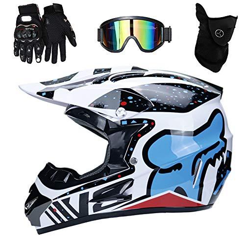 PKFG® AO-330 Full face Motocross Helm, Adult Helm Sport Adventure Enduro Motorradhelme Motocross Schutzhelm Unisex MTB Schutz Sicherheit Helm mit Handschuhe Maske Brille,S52~53CM -
