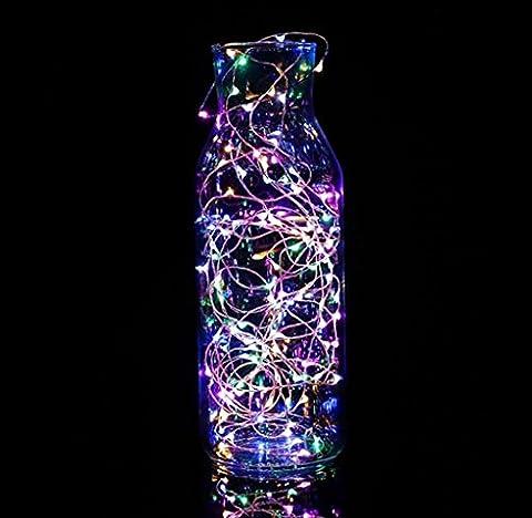 Chaîne de lampe à la maison Elyseesen 2 m 20LED bouton Cell Powered Silver fil de cuivre mini guirlande lumières (Multicolor)