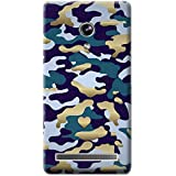 Bloody Branded Back Case For Asus Zenfone 6 | Asus Zenfone 6 Back Cover | Asus Zenfone 6 Back Case - Printed Designer Hard Plastic Case - Camouflage Theme(Royel Blue & Gold)