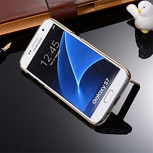 Skitic Handy Schutzhülle Etui für Apple iPhone 7 4,7 Zoll - Ultra Slim Plastik Hard Back Cover Case mit Ständer Stoßfest Rahmenschutz Hülle Smartphone Zubehör Schale - Blau Gold