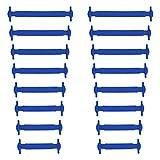 Xunits Elastische Silikon Schnürsenkel dunkel-blau, flach Schleifenlose Schuhbänder in 13 (neon) für Kinder & Erwachsene