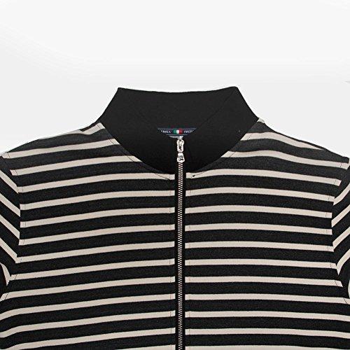 Mena Uk Rivestimento con giacca a righe con zip a manica, morbido tocco e tessuto antipillino, traspirante e rapido asciugatura - Ideale per passeggiare e lavorare Nero