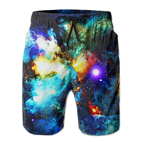 Galaxy Universe Space Stars Men's Swim Trunks Board Beachwear Casual Beach Shorts for Men with Mesh Lining,Size:L -