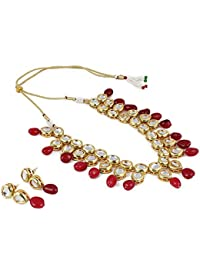 Aradhya Stylish High Quality Maroon Stone Kundan Necklace Set With Earrings For Women And Girls