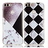YKTO Custodia Huawei P Smart 5.65 Pollici Marmo Colorate Effetto Cover Ultra Sottile Morbida Silicone Case Brillantini [2 Pack] Belle Anti Scivolo Antiurto Colore Caso Posteriore Quadrilatero