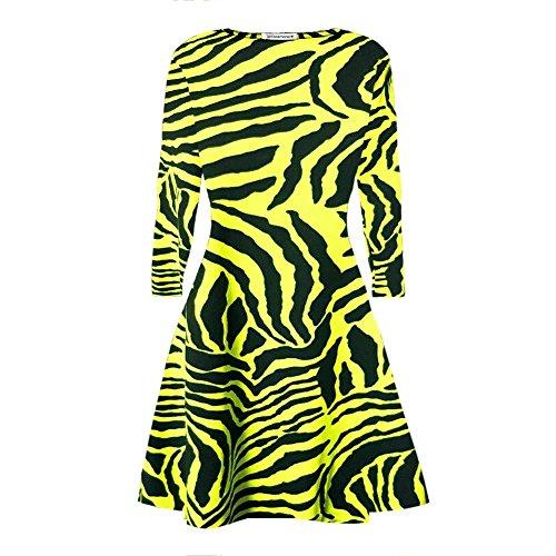 Janisramone - Robe - Robe de swing - Manches Longues - Femme noir * taille unique jaune fluo