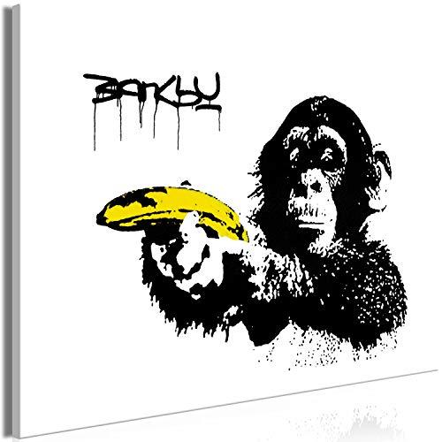 ksy AFFE mit Banane Pistole 120x80 cm Leinwandbild 1 TLG Kunstdruck modern Wandbilder XXL Wanddekoration Design Wand Bild - Graffiti Street Art Tiere i-C-0148-b-a ()