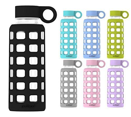 Glasflasche BPA-frei auslaufsicher mit Extra Dicke Silikonhülle und Edelstahl-Deckeleinsatz 360 650 1000 ml (Liter) 1L | Sport Wasser Glasflaschen Glass Bottle heiß und kalt Kinder Glas Trinkflasche