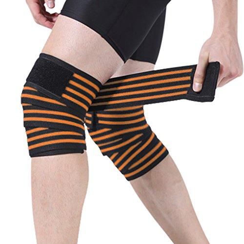 YSXY Professional Kniebandagen Sportbandage zur Kompression Bei Verletzungen und Schmerzen, Unisex für Damen und Herren Beim Kraftsport, Bodybuilding, Powerlifting,Orange