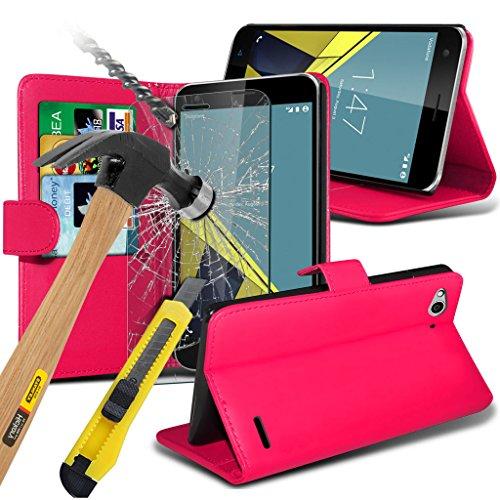 i-Tronixs (Pink) <b> Vodafone Smart Ultra 6 hülle Schutzhülle Fall </ b> hülle Schutzhülle Premium Quality Book PU-Leder-Mappen-Schlag mit Kredit- / Bankkarte Slot Hülle Tasche mit gehärtetem Glas-Schirm-Schutze s, Poliertuch und Mini-versenkbaren Stylus Pen