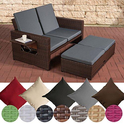 CLP Poly-Rattan 2er Lounge-Sofa ANCONA, ALU-Gestell, Fußteil ausziehbar, flexibel verstellbar Rattan Farbe braun-meliert, Stärke 1,25 mm, Bezugfarbe: Eisengrau