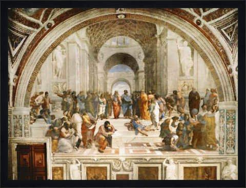 Bild mit Rahmen: Raffael, 'Die Schule von Athen', 70 x 52 - Holz Fortuna L: Schwarz matt