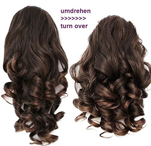PRETTYSHOP 2 IN 1 Haarteil Pferdeschwanz Zopf Haarverlängerung Haarverdichtung ca 40cm und 50 cm braun mix #4T30 H21-2