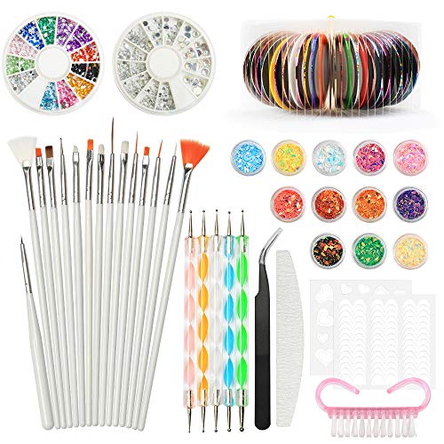 Nail art design set kit pennelli decorazioni adesivi nastro decorazioni strass, yzpusi nail art kit attrezzi per unghie 3d argento colorate brillantini strass unghie francese manicure
