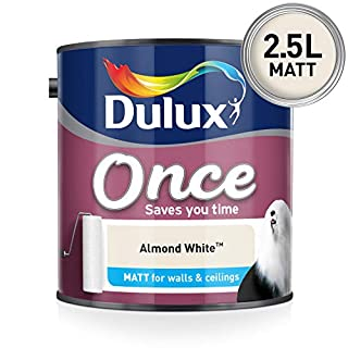 Dulux Once Matt Emulsion Paint For Walls And Ceilings - Almond White 2.5L