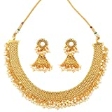 Adiva Bridal Dulhan White Copper Alloy Necklace Earring Set Jewellery Sets for Women