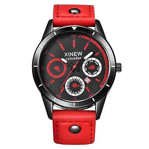 Sport Watch,Rawdah Mens Quartz Wrist Watch Date Day Luminous Military Sport Leather Casual Business