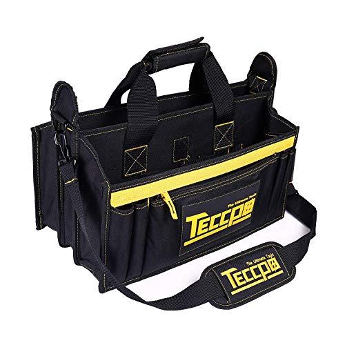 Werkzeugtasche,TECCPO Werkzeugbeutel 43x 29 x 20cm, Verstellbarer Schultergurt, 9 Außentaschen und 7 Innentaschen, robuste und strapazierfähige Konstruktion, Wasserdicht-THTB02B