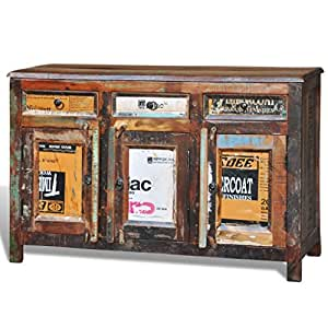 vidaXL Antik Vintage Massivholz Kommode Sideboard Schrank 3 Türen