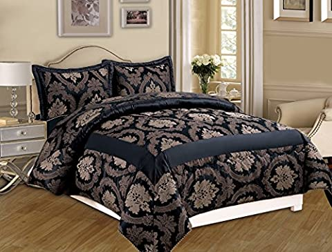 New Luxury 3PCS (Piece) Jacquard 220GSM Quilted Bedspread Comforter Set + 2 Pillow Shams Free P&P (Super King (260 x 270 CM), Betty Black)